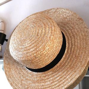 Καπέλο ψαθινο με μαύρο ύφασμα