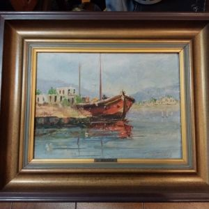 Πίνακας ελαιογραφία Δ. Βάλλα, λιμάνι