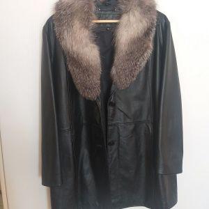 Μαύρο δερμάτινο σακάκι, 2xl, με αποσπώμενο γούνινο γιακά