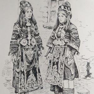 1897 γυναίκες της Θεσσαλίας με κυριακάτικη φορεσιά, ξυλογραφια