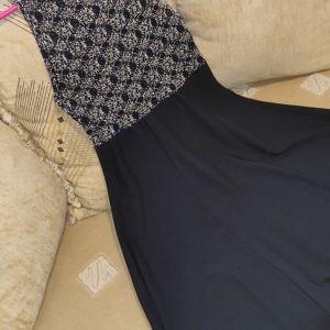 Βραδινό μαύρο φόρεμα με δαντέλα