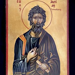 Άγιος Ανδρέας χειροποίητη Αγιογραφία Βυζαντινής τεχνοτροπίας