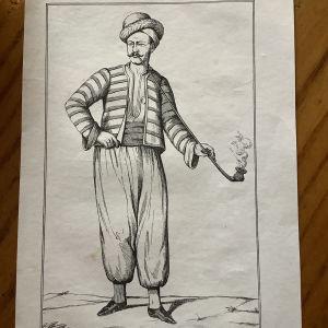 1802 Ναξος παραδοσιακή ανδρική φορεσιά χαλκογραφία