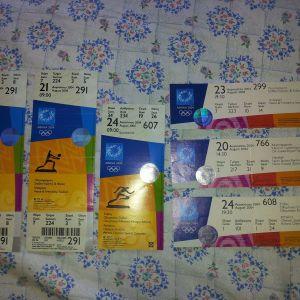 6 εισιτηρια συλλεκτικα απο τους ολυμπιακους ΑΘΗΝΑ 2004