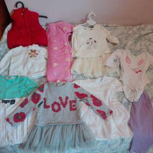 Πακέτο ρούχων για κορίτσι 9-12 μηνών 10 τεμ