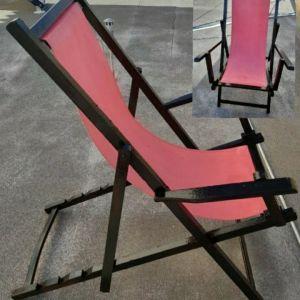 Πολυθρόνα σεζλόνκ με μπράτσα, πτυσσόμενη, από μασίφ ξύλο οξιάς, τεσσάρων θέσεων.