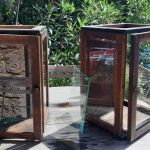 Old glass cabinets. The glass is bevelled (height: 62,5cm, width: 40,5cm and depth: 37cm).