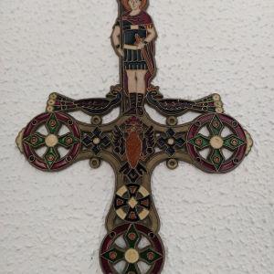 Χειροποίητος μπρούτζινος σταυρός με σμάλτο.