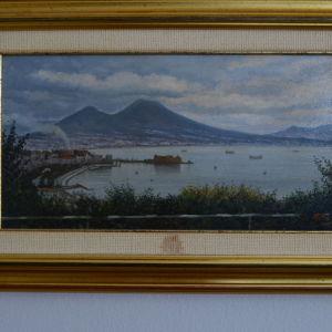 Πίνακας ζωγραφικής, ελαιογραφία σε καμβά με φόντο τον Βεζούβιο στην Νάπολη-Ιταλία