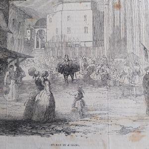 1854 Αθήνα, δρόμος των Αθηνών ξυλογραφία