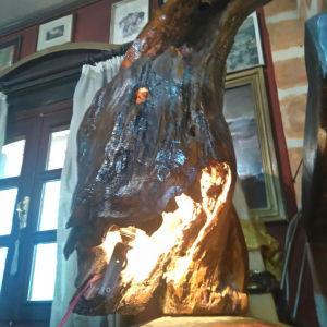 ΦΩΤΙΣΤΙΚΑ πανέμορφα μοναδικά συλλεκτικά κομμάτια χειροποίητοα.φωτιστικό δαπέδου και οροφής από κουφάλα δέντρου με λουστροπατινα