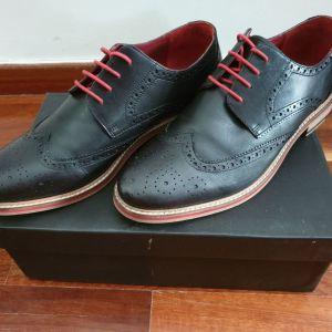 Ανδρικά Παπούτσια Oxford Μαύρα Δερμάτινα Νο44