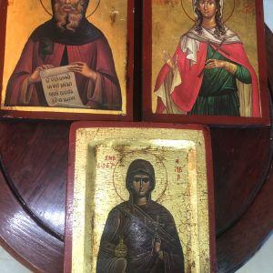 Αντίκες Αγιορείτικες Αγιογραφίες δεκαετίας 1980 ζωγραφισμένες στο χέρι σε ξύλο μασίφ