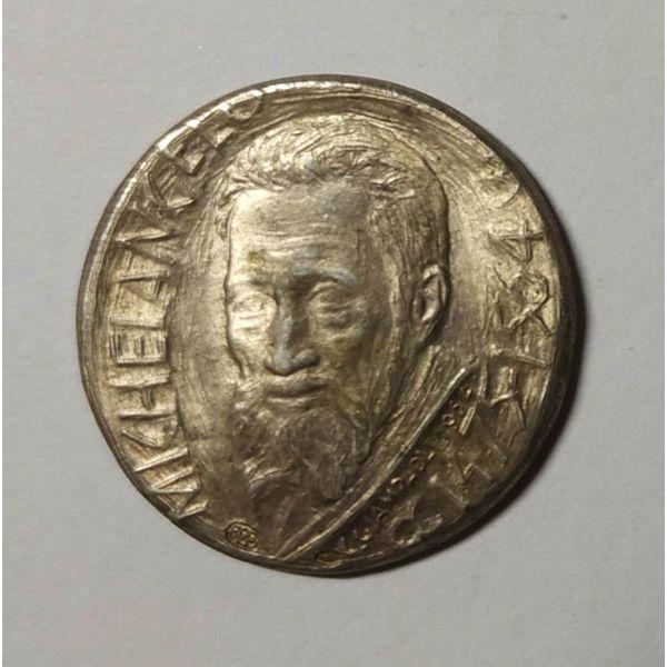 anamnistiko metallio Michelangelo, asimi, sillektiko, spanio, coins