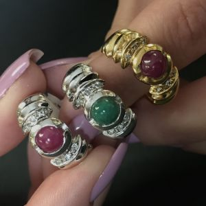 Δαχτυλιδι 18k με Σμαράγδι Ρουμπίνι και Μπριγιαν