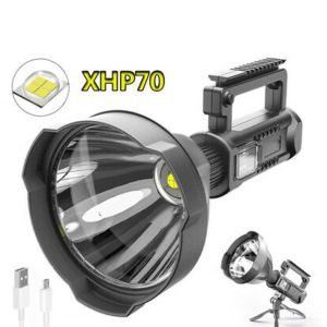 Ισχυρός φακός LED προβολέας πολυλειτουργικός με βάση επαναφορτιζόμενος +USB