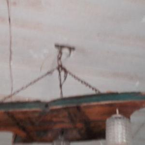 συλλεκτικό φωτιστικό οροφής από εξαρτήματα ανάσας κάτου εποχής 1900  με 3 λάμπες εποχης1950