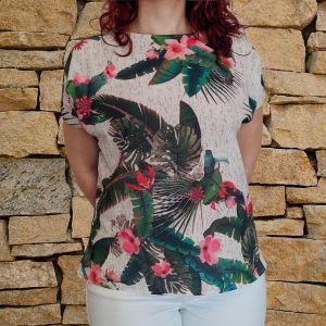 Μπλούζα φλοράλ με τροπικό σχέδιο