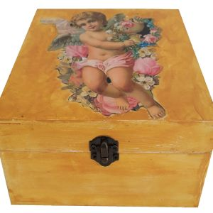 """Χειροποίητο Ξύλινο κουτί αποθήκευσης με εικόνα """"ΑΓΓΕΛΑΚΙ"""""""