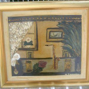 πίνακας ζωγραφικής ακουαρέλα με λάδι  με επίχρυσο πλαίσιο