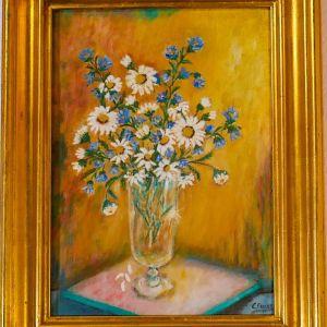 Ελαιογραφία    Λουλούδια   Σε κορνίζα   42x30