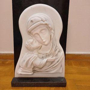 Εικονα Παναγίας Μαρμάρινη με γρανίτη σκακιστή στο χέρι