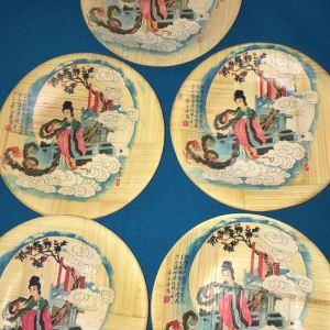 5 Ιαπωνεζικα πιατάκια από μπαμπού.Vintage