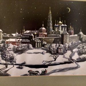 Ρωσική   Γκραβούρα   της     παλαιάς  πόλης    της   Μόσχας,   το   χειμώνα