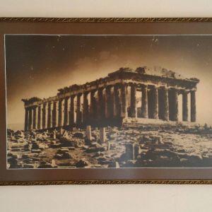 Φωτογραφία του Παρθενώνα παλιά, σε κορνίζα δεκαετίας'50. Διαστάσεις 61χ42 εκατοστά.