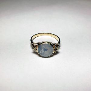 Χρυσό δαχτυλίδι 14Κ με οπάλιο και διαμάντια, 3.11γρ.