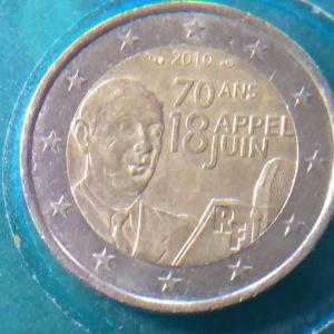 Γαλλία 2 Ευρώ, 2010 70η επέτειος - Έκκληση του Στρατηγού Ντε Γκώλ