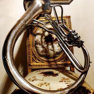 Συλλεκτική Ελικών Τούμπα Μπάσσο δεκ. 1920, με κύλινδρους, ιταλική Ditta Prof. Romeo Orsi - Milano Italia, μουσικό χάλκινο πνευστό όργανο, διακόσμηση ρετρό αντίκα σπάνιο φιλαρμονική τρομπέτα τρομπόνι