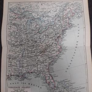 Γκραβουρες του 1888 χαρτες ΗΠΑ ανατολικων και δυτικων πολιτειων 2 χαρτες