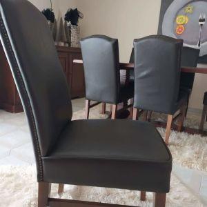 Τραπεζαρία μαονι έξι δερμάτινες καρέκλες