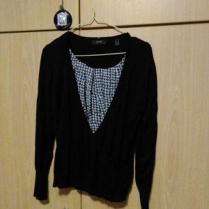 Μπλούζα μαύρη με άσπρο καρώ στο στήθος esprit collection διπλή