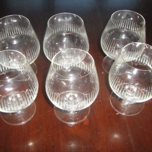 Σετ 6 γυαλινα ποτηρια του κονιάκ  ταγιαρισμένα του 1970