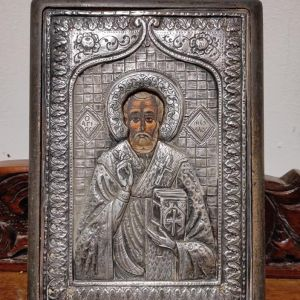 Ασημένια εικόνα του Αγίου Νικολάου με αγιογραφία