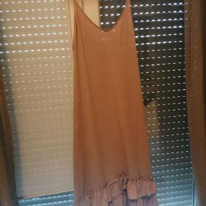 Zara nude καλοκαιρινό φόρεμα με βολάν