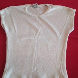 Μπλούζα βελουτέ λευκή one size