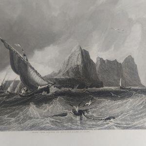 1820 Γιβραλτάρ από την θάλασσα Χαλκογραφία 32x23cm
