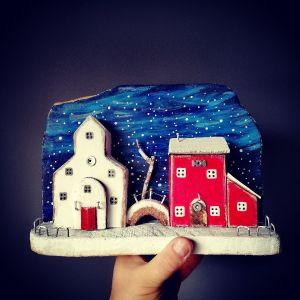 shabby chic driftwood χειροποίητη κατασκευή χριστουγεννιάτικο χιονισμένο χωριό