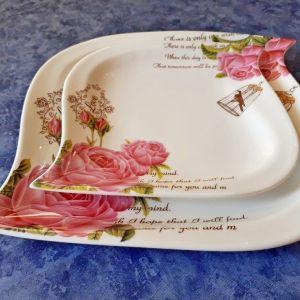Σετ δύο ζωγραφιστά πιάτα τσαγιού