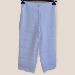 Esprit λινό λευκό παντελόνι