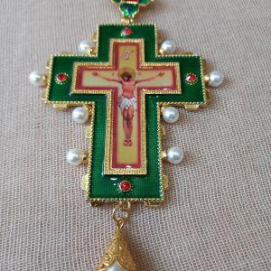 Επιστήθιος Σταυρός με πράσινο σμάλτο