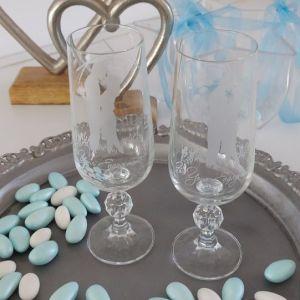 Κρυστάλλινα ποτήρια 2 τμχ, εποχής 1980. ΑΡΡΑΒΏΝΩΝ. Vinatge engagement glasses.