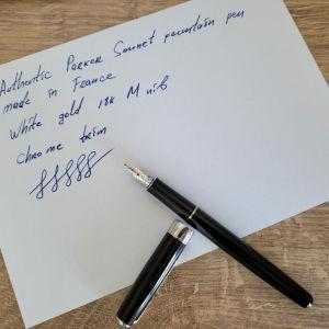 Parker Sonnet 18K White Gold M Nib Made in France Στυλο Πενα Χρυσή πενα 18 καρατίων Συλλεκτικη