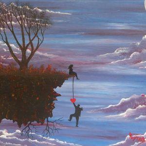 Πίνακας ζωγραφικής (Saving my love) Έργο ζωγραφισμένο στο χέρι με ακρυλικά χρώματα σε Canva
