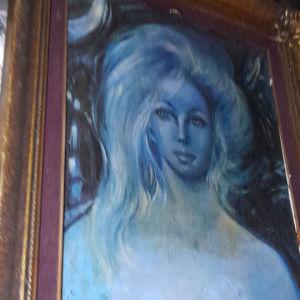 συλλεκτικός πίνακας έποχης  γαλάζια εποχή Πικάσο με υπογραφή σε μουσαμά μεταξοτιπια 80 χ60