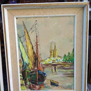 πίνακας ζωγραφικής ελαιογραφία σε χαρντμπολ με διαστάσεις 62 Χ 50 εκατοστά και καθαρές διαστάσεις 48 Χ 36 εκατοστά του Ψαρρακη.