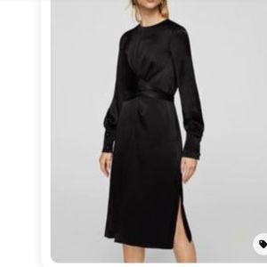 Σατέν φόρεμα μαύρο - M